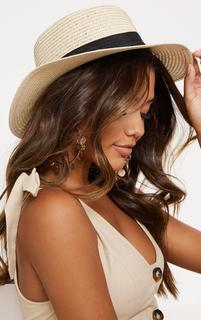 PrettyLittleThing - Straw Summer Hat, White