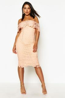 boohoo - Womens Boutique Lace Off Shoulder Midi Dress - Pink - 8, Pink