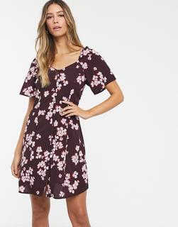 Vero Moda - Geknöpftes Kleid mit Carréausschnitt und Blumenprint-Mehrfarbig