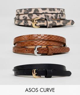 ASOS Curve - ASOS DESIGN Curve 3 Pack Waist And Hip jeans Belts In Snake & Leopard