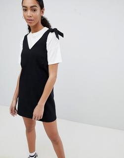 Noisy May - mini denim pinafore dress in black