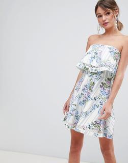 ASOS DESIGN - floral stripe bandeau ruffle mini dress with crochet trim