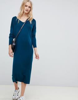 ASOS DESIGN - Mittellanges Pulloverkleid mit V-Ausschnitt und Wellenstrickmuster-Grün - 10.71 €