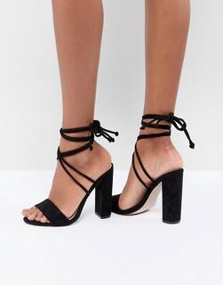 Public Desire - Suzu – Schwarze Sandalen mit Schnürung und Blockabsatz