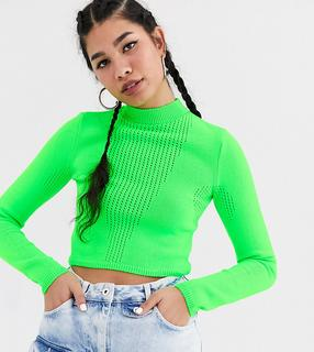 Collusion - Kurzer Pullover aus sportlichem Garn in Grün