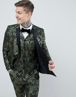 ASOS Edition - skinny double breasted tuxedo suit jacket in green floral jacquard