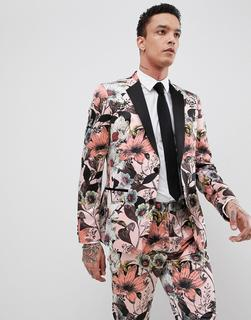 ASOS Edition - skinny tuxedo suit jacket in pink floral sateen print