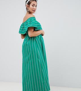 ASOS Maternity - ASOS DESIGN – Umstandsmode – Trägerloses Maxikleid mit Streifen-Mehrfarbig
