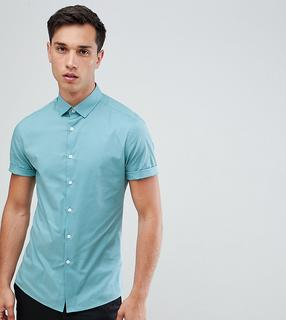 ASOS DESIGN - Tall skinny oxford shirt in green with short sleeves