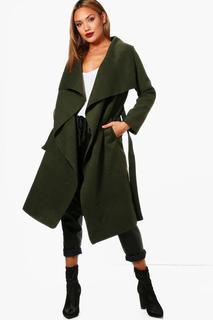 boohoo - Mantel mit Gürtel und Wasserfallrevers
