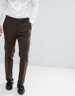 ASOS DESIGN - slim suit trousers in 100% wool Harris Tweed in brown herringbone