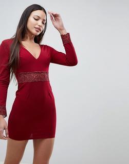 AX Paris - Hochgeschlossenes Skaterkleid aus Spitze-Rot - 9.74 €
