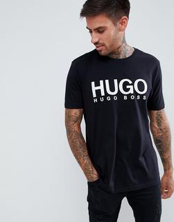 HUGO - Dolive – Schwarzes T-Shirt mit großem Logo