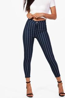 boohoo - Womens Petite Stretch Stripe Tube Jean - blue - 10, Blue