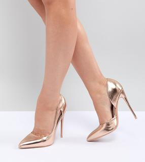 Lost Ink Wide Fit - Rose Gold Court Shoes