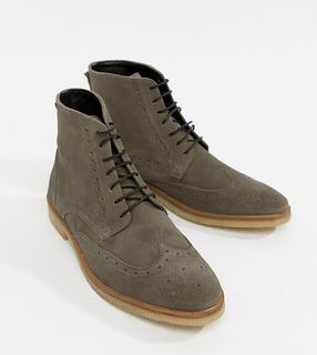 ASOS DESIGN - brogue boots in grey suede with natural sole