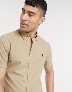 Polo Ralph Lauren - Schmal geschnittenes, kurzärmliges Oxfordhemd mit Button-down-Kragen und Polospieler-Logo in Hellbraun-Bronze
