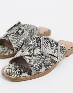 Topshop - Sandalen mit Schnalle und Schlangenmuster-Mehrfarbig
