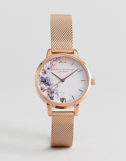 Olivia Burton - OB16PP39 Watercolour Floral Mesh Watch In Rose Gold - Rose gold