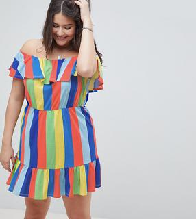 ASOS Curve - ASOS DESIGN Curve off shoulder sundress with tiered skirt in rainbow stripe