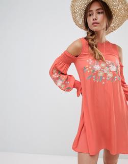 Glamorous - Besticktes Blumenkleid-Orange