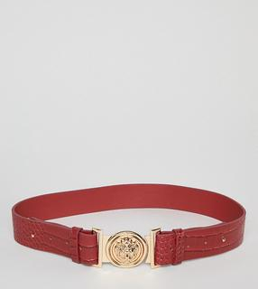 My Accessories - red mock croc clip buckle belt