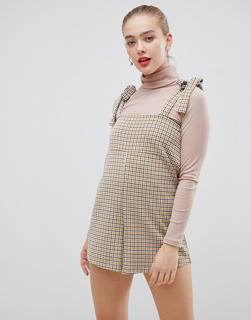 ASOS DESIGN - playsuit in check with tie straps