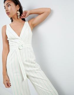 ASOS DESIGN - stripe print tux jumpsuit with wide leg and self belt - £ 14.00