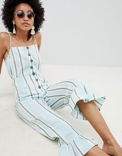 ASOS DESIGN - Jumpsuit aus Baumwolle mit Rüschensaum, Carréausschnitt, Knopfdetails und Streifenmix-Mehrfarbig