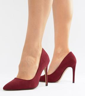 ASOS DESIGN - Wide Fit Paris high heeled court shoes in burgundy