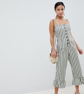 ASOS Petite - ASOS DESIGN Petite cotton frill hem jumpsuit with square neck and button detail in stripe
