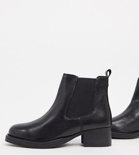 Dune - Wide Fit – Power – Chelsea-Stiefel aus schwarzem Leder