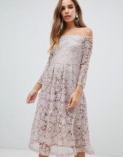 Dolly & Delicious - bardot all over lace prom midi dress with bell sleeve in mauve