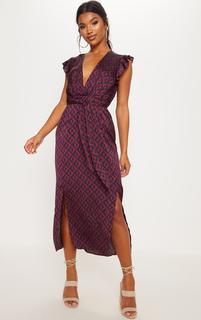 PrettyLittleThing - Navy Geo Print Satin Frill Shoulder Split Midi Dress, Blue