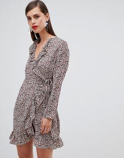 UNIQUE21 - Unique 21 – Langärmliges Wickelkleid mit Leopardenmuster und Rüschen-Mehrfarbig
