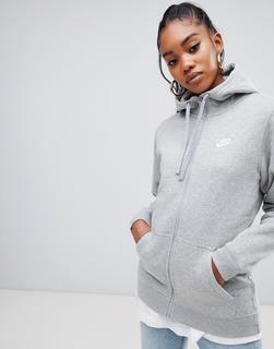 Nike - Club Grey Zip Thru Hoody - Grey