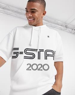 G-Star - Kurzärmliger Sport-Kapuzenpullover mit Logo-Weiß