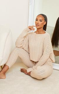 PrettyLittleThing - Stone Cable Knit Crop Jumper & Legging Set, White