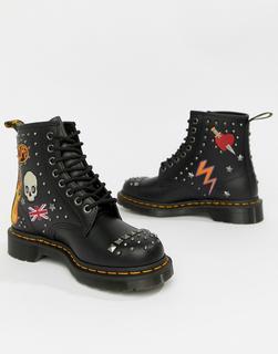 DR. MARTENS - 1460 Black Leather Rockabilly Flat Ankle Boots