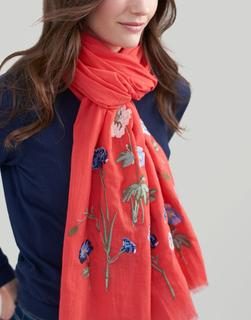 Joules Clothing - Red Floral Flora Embroidered Cotton Scarf  Size One Size