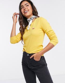 Levis - Levi's – Fein geripptes, langärmliges Shirt in Gelb