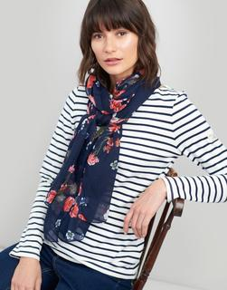 Joules Clothing - Navy Floral Wensley Printed Scarf  Size One Size