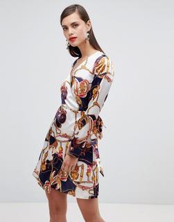 UNIQUE21 - Unique 21 – Langärmliges Wickelkleid mit Schaldruck-Mehrfarbig