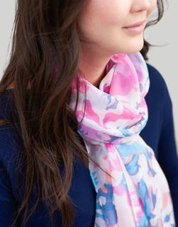 Joules Clothing - Pink Floral Wensley Printed Scarf  Size One Size