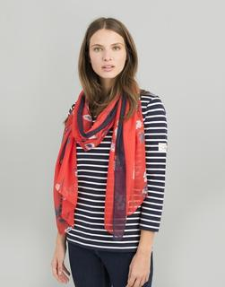 Joules Clothing - Red Floral Wensley Printed Scarf  Size One Size