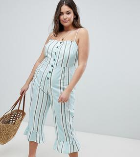 ASOS Curve - ASOS DESIGN Curve cotton frill hem jumpsuit with square neck and button detail in variated stripe