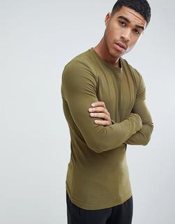 ASOS DESIGN - muscle fit long sleeve crew neck t-shirt with stretch in green