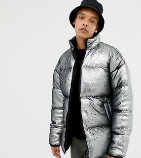 ASOS DESIGN - Tall oversized sequin puffer jacket in silver