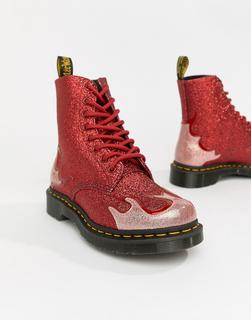 DR. MARTENS - 1460 Pascal - Flache Ankle-Boots mit rot glitzerndem Flammendesign - Cremeweiß