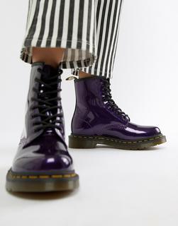 DR. MARTENS - 1460 Purple Chrome Flat Ankle Boots